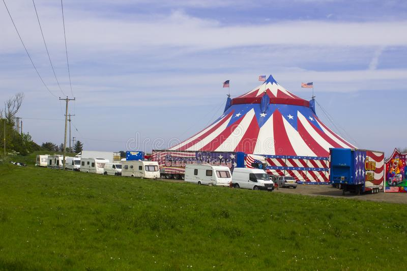 The Big Top of the Travelling American Circus in Ireland. 15 May 2019 The Red, White and Blue Big Top of the Travelling American Circus in Ireland with the stars royalty free stock photos