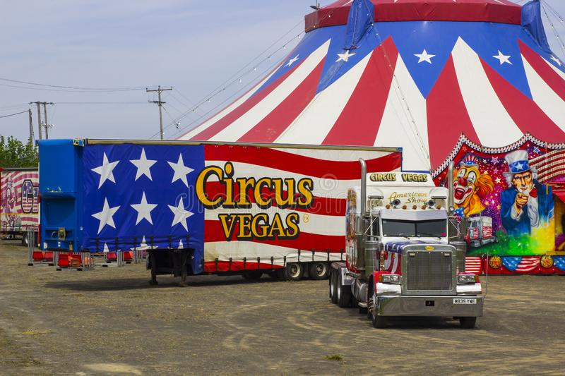 The Big Top of the Travelling American Circus in Ireland. 15 May 2019. The Red, White and Blue Big Top of the Travelling American Circus in Ireland with the royalty free stock images