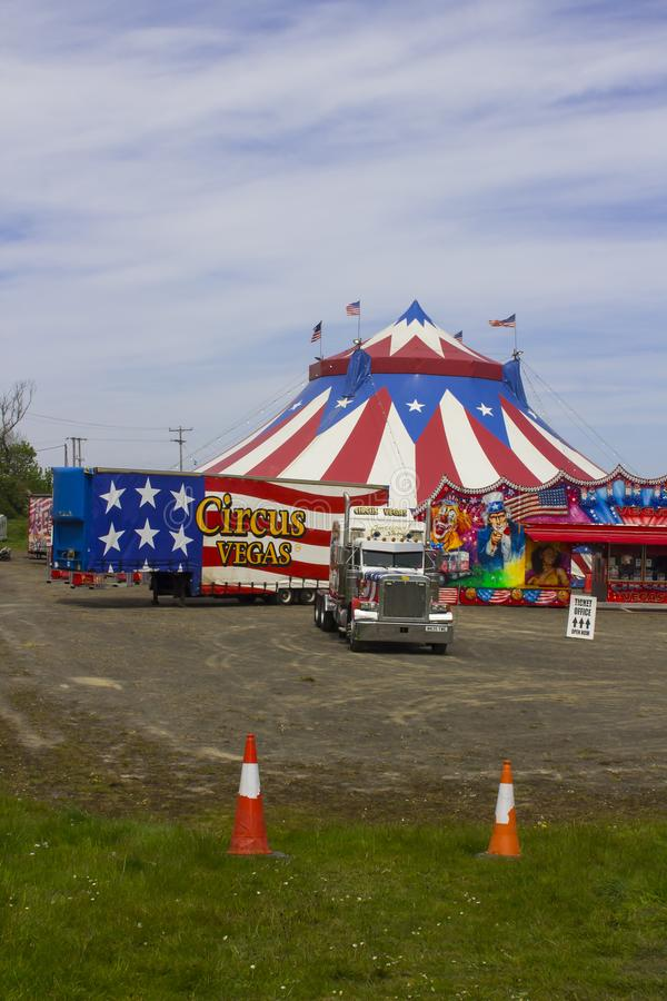 The Big Top of the Travelling American Circus in Ireland. 15 May 2019. The Red, White and Blue Big Top of the Travelling American Circus in Ireland with the royalty free stock photos