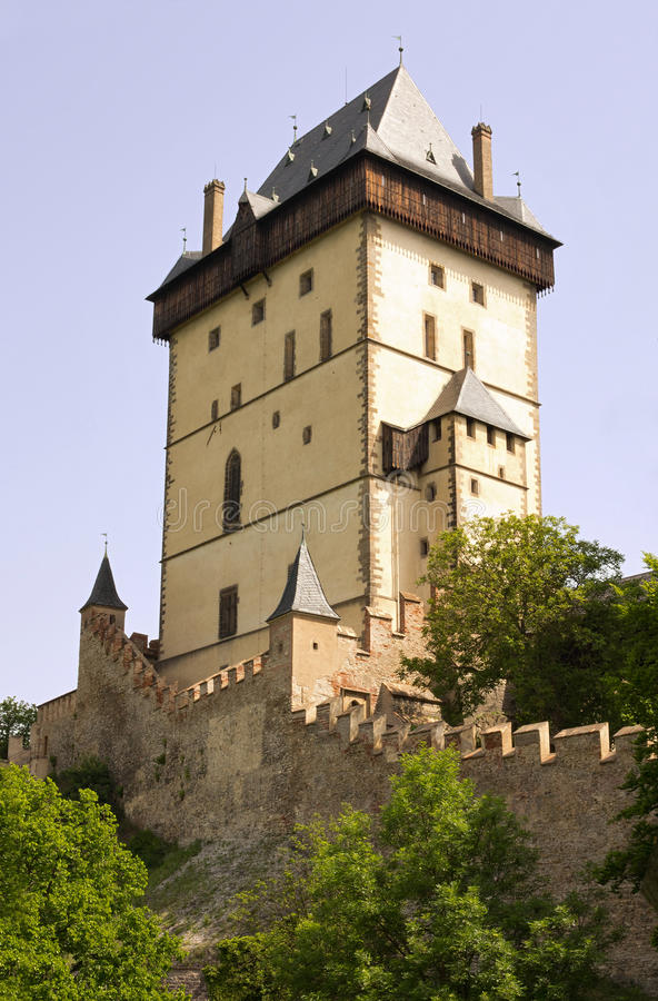 Big Tower - Karlstejn castle. Karlstejn Castle - Big Tower. Karlstejn Castle - is a famous Gothic castle founded 1348 by Charles IV - King of Bohemia. The castle stock photos