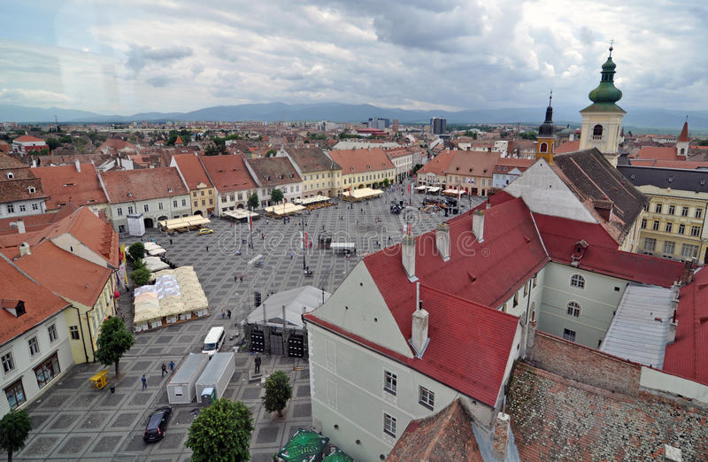 Big tower square. Sibiu city - big square - in middle Romania, Transylvania land is now host of International Festival of Theater May 25th - June 3rd 2012 stock photos