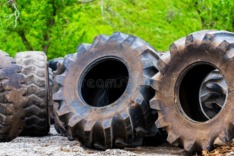 Big tractor tires in outdoor in repair house stock images