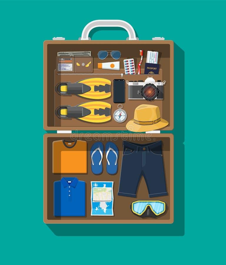Big travel set. Summer holiday, tourism, vacation vector illustration