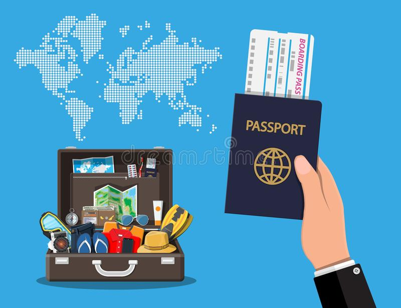 Big travel set. Summer holiday, tourism, vacation stock illustration