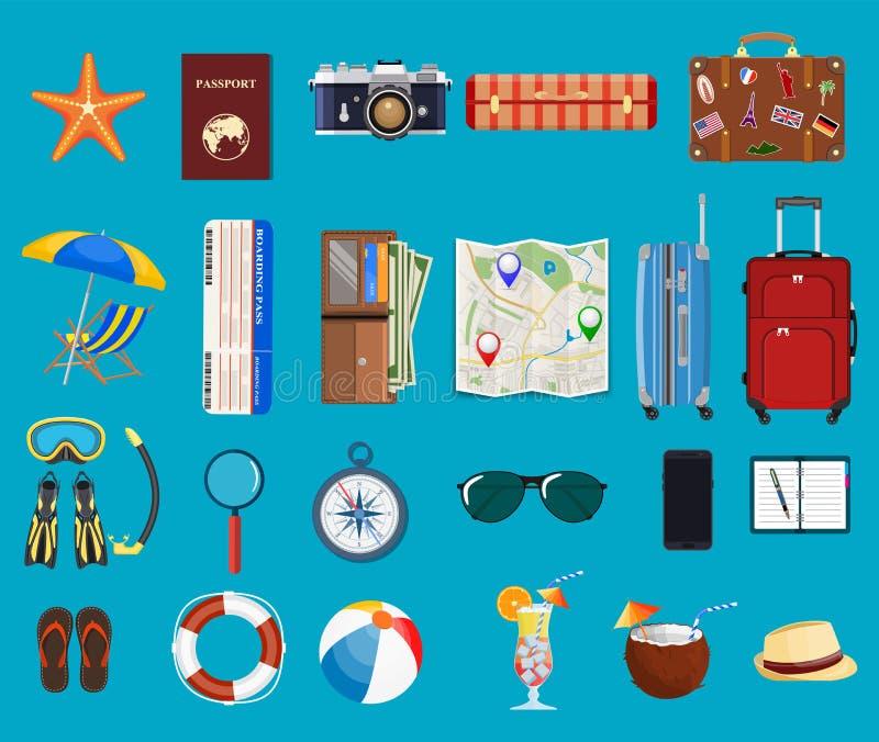 Big travel set. vector illustration