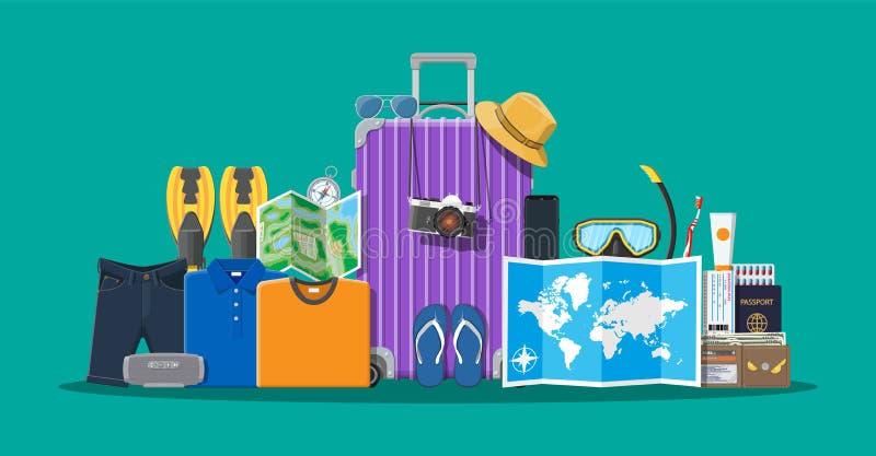Big travel set. Summer holiday, tourism, vacation royalty free illustration
