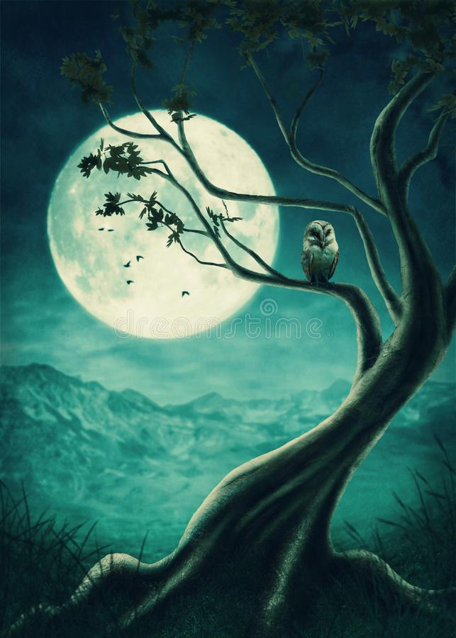 The big tree. With owl vector illustration