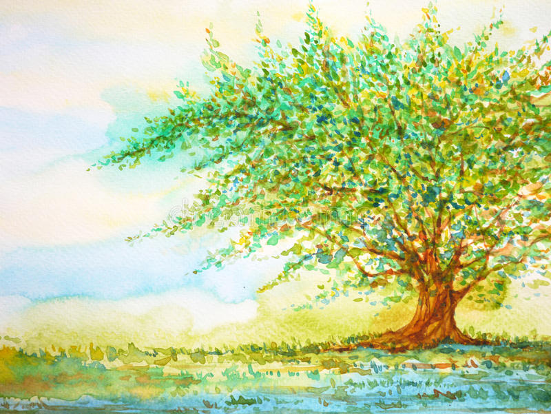 Big tree in grass field and blue sky, watercolor painting on paper royalty free illustration