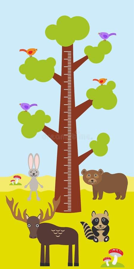 Big tree with green leaves, birds rabbit elk bear raccoon Children height meter wall sticker, kids measure. Vector. Illustration vector illustration