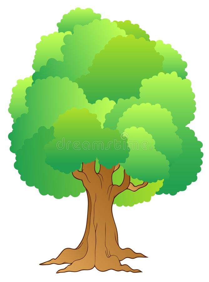 Big Tree With Green Treetop Royalty Free Stock Photos
