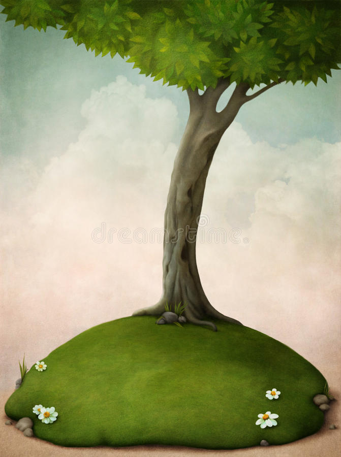 Big tree on the lawn. Spring background, illustration or greeting card. Tree and lawn with flowers. Computer graphics royalty free illustration