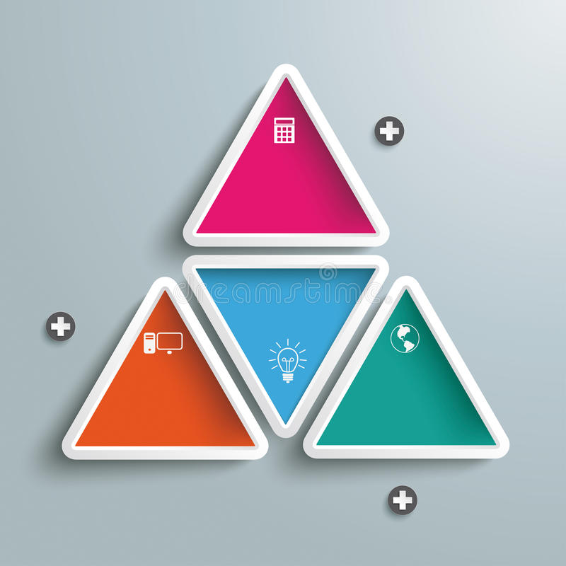Big Triangle With Four Colored Triangles Infograph. Six colored triangles on the grey background. Eps 10 file stock illustration