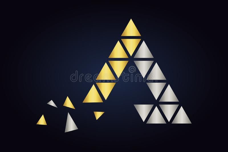 Big triangle and a lot of little triangles inside the main shape. vector illustration