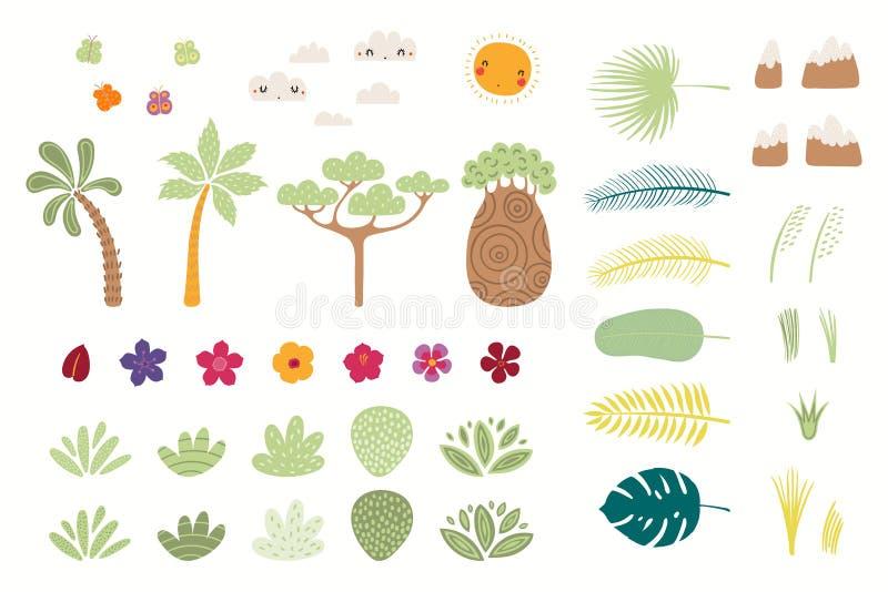 Big tropical elements set vector illustration
