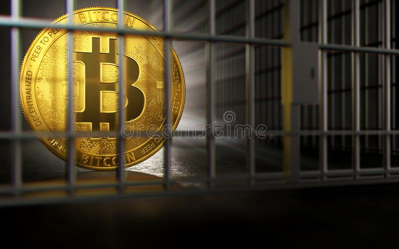 Bitcoin ban, imprison or illegal. Big troubles of Bitcoin or other cryptocurrencies. Copyspace below. 3D rendering. Big troubles of Bitcoin or other stock illustration