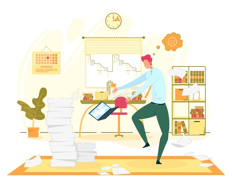Big Troubles at Office Work Flat Vector Concept stock illustration