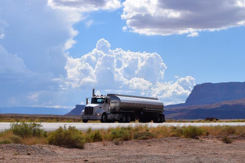 Truck on the road, American highway, Arizona, USA stock photo
