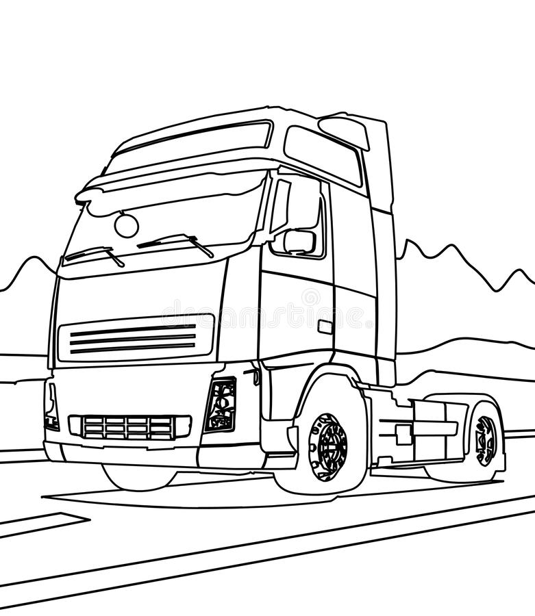 Big truck coloring page royalty free illustration
