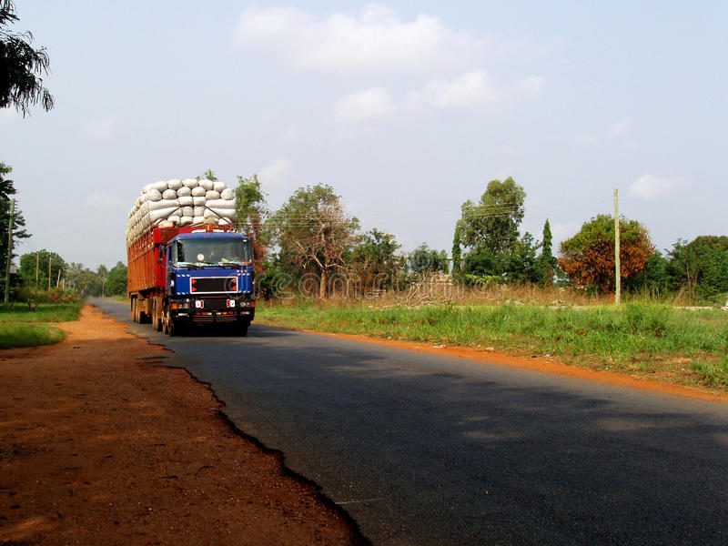 Big truck with humanitarian aids. A big truck carries humanitarian aids for african people in Ghana - Africa stock images