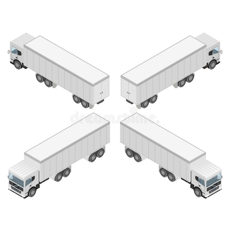 Big truck in isometric. Cargo transport. vector illustration