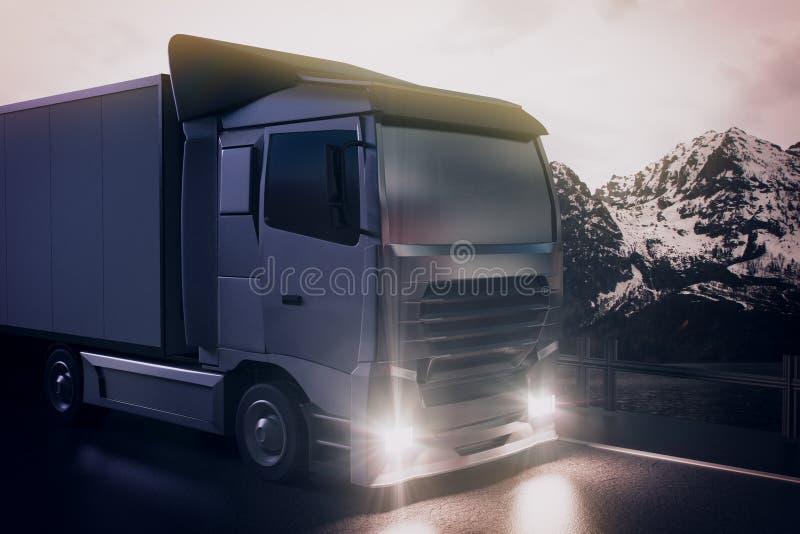 Big truck on landscape background stock illustration