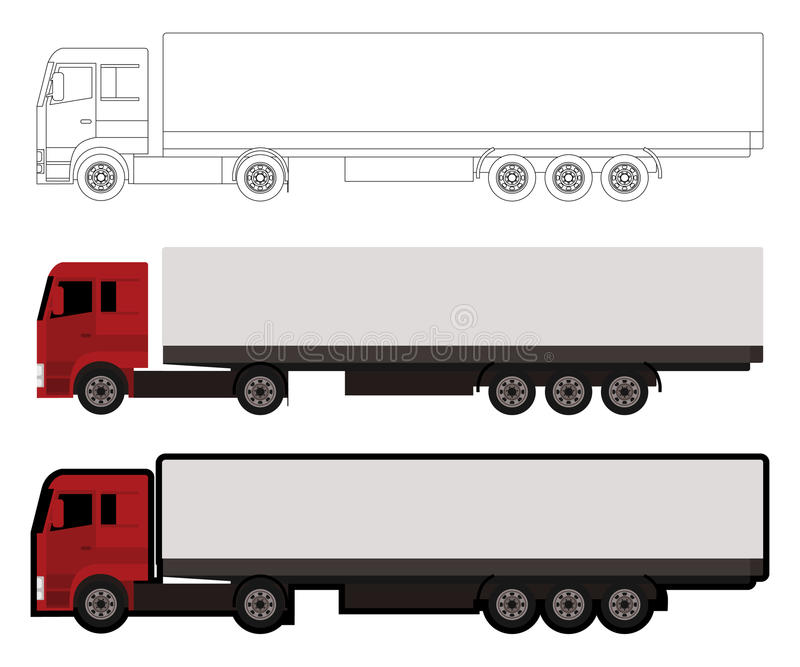 Download Big truck stock vector. Image of render, side, line, industry - 34376214