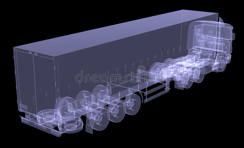 Big truck tractor. Isolated render of an X-ray royalty free illustration