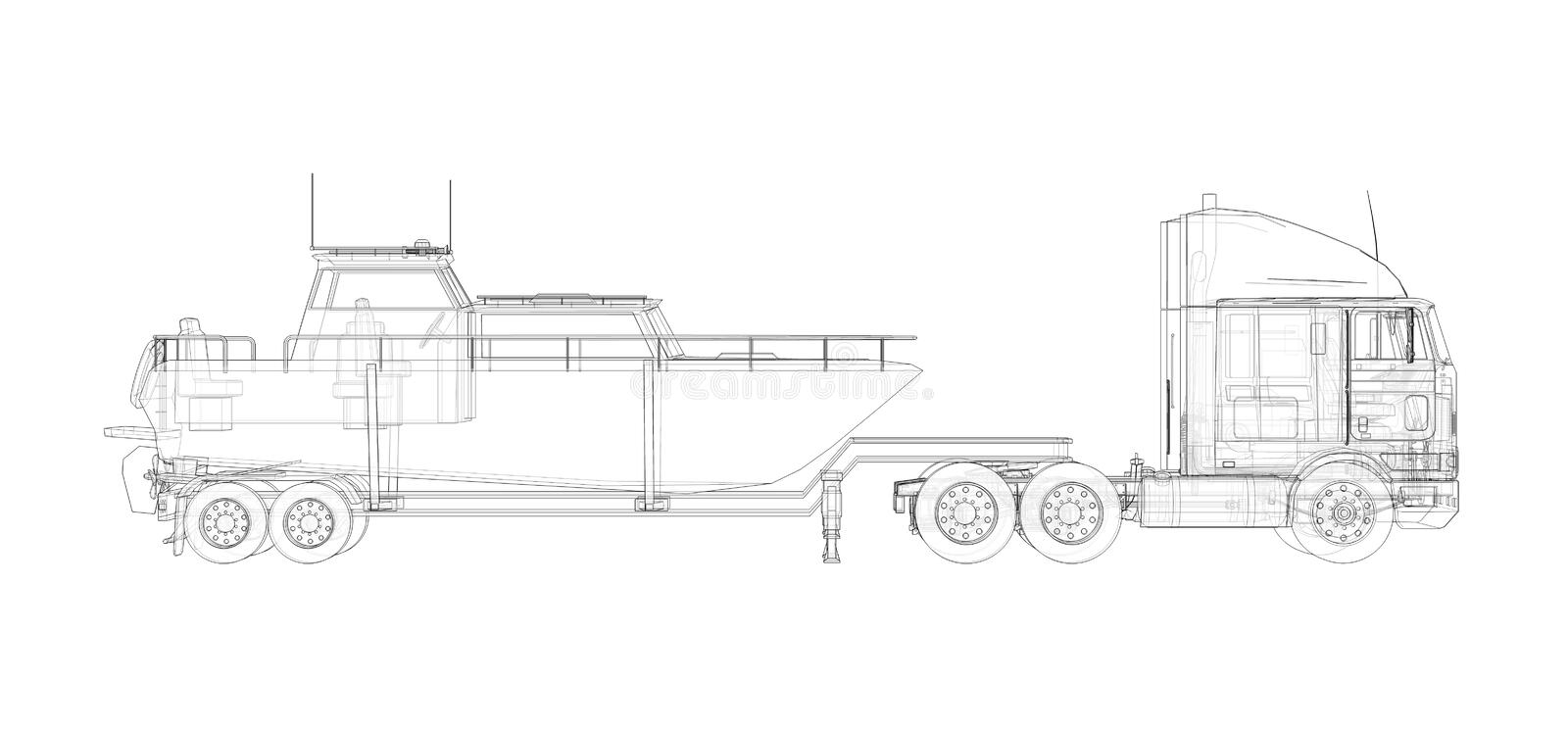Big truck with a trailer for transporting a boat on a white background. 3d rendering. Big truck with a trailer for transporting a boat on a white background. 3d stock illustration