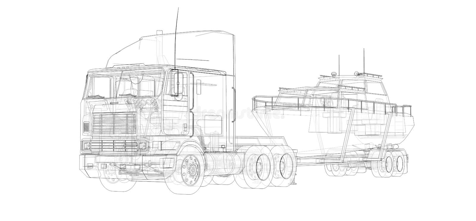 Big truck with a trailer for transporting a boat on a white background. 3d rendering. Big truck with a trailer for transporting a boat on a white background. 3d royalty free illustration