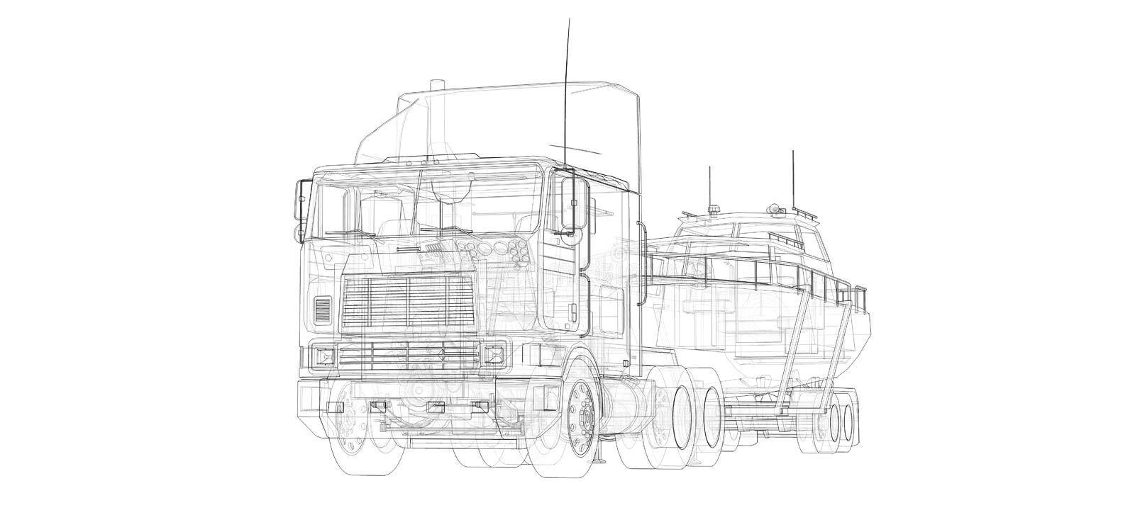 Big truck with a trailer for transporting a boat on a white background. 3d rendering. Big truck with a trailer for transporting a boat on a white background. 3d vector illustration
