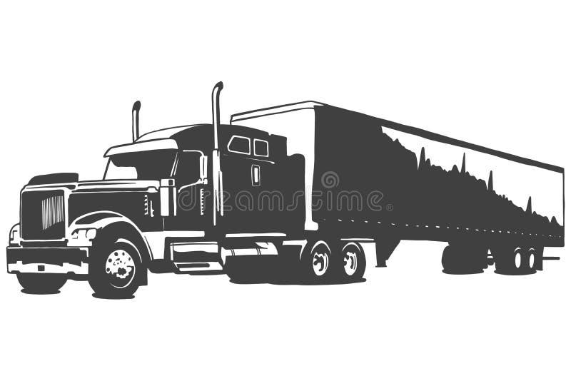 Big truck vector black illustration on white background. Hand drawn illustration. royalty free illustration