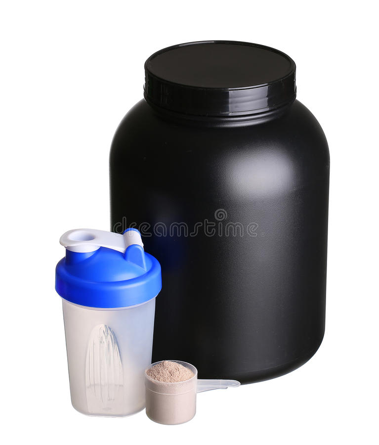 Big Tub Of Whey Protein With Shaker And Cup Of Protein Powder Stock