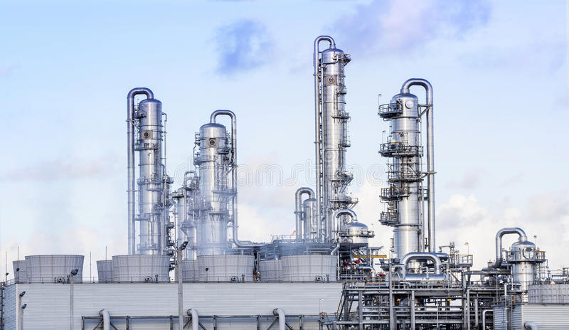 Big tube in refinery petrochemical plant in heavy industry estate royalty free stock images