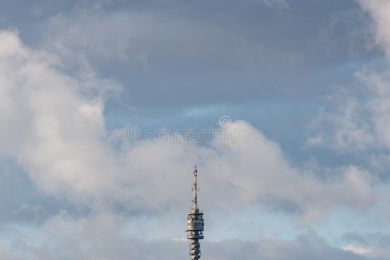 TV tower in Zalaegerszeg hungary. Big TV tower in Zalaegerszeg hungary royalty free stock photography
