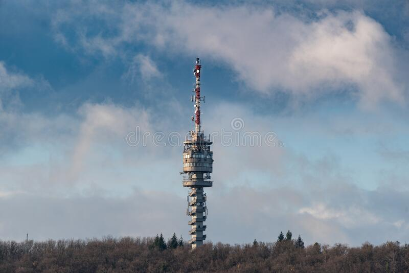 TV tower in Zalaegerszeg hungary. Big TV tower in Zalaegerszeg hungary stock photos