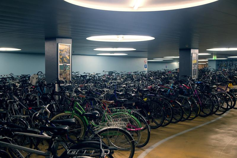 Underground bicycle parking in Basel Switzerland royalty free stock images