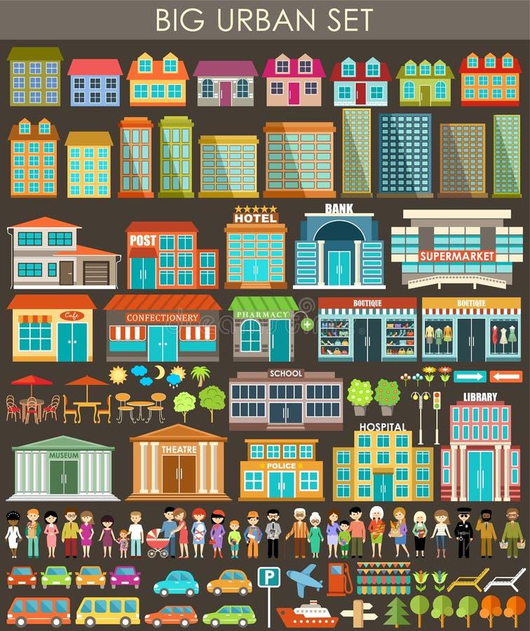 Big urban set stock illustration