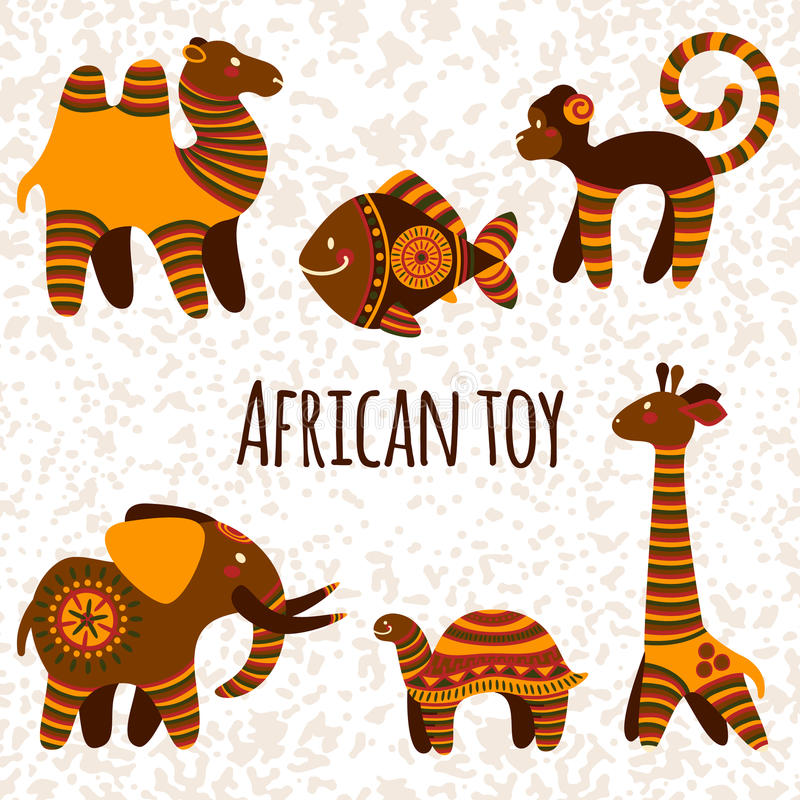 Big vector collection with African toy royalty free illustration