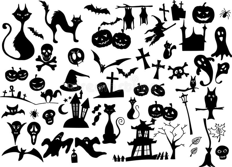 Big vector collection of halloween silhouettes royalty free illustration
