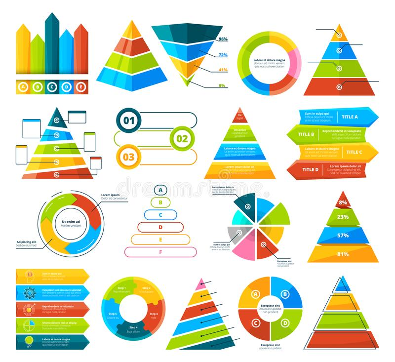 Big vector collection of infographic elements. Pie charts, graphs, diagram and triangles. Pyramid triangle and diagram chart, infograph circular progress stock illustration