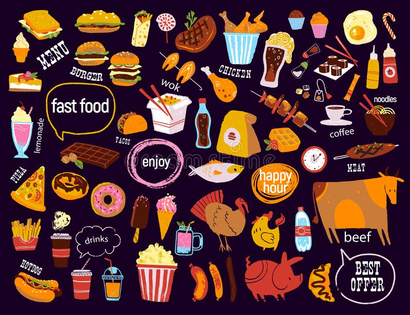 Big vector fast food & snack set isolated on black background: burger, dessert, pizza, coffee, chicken, wok, beef etc. royalty free illustration