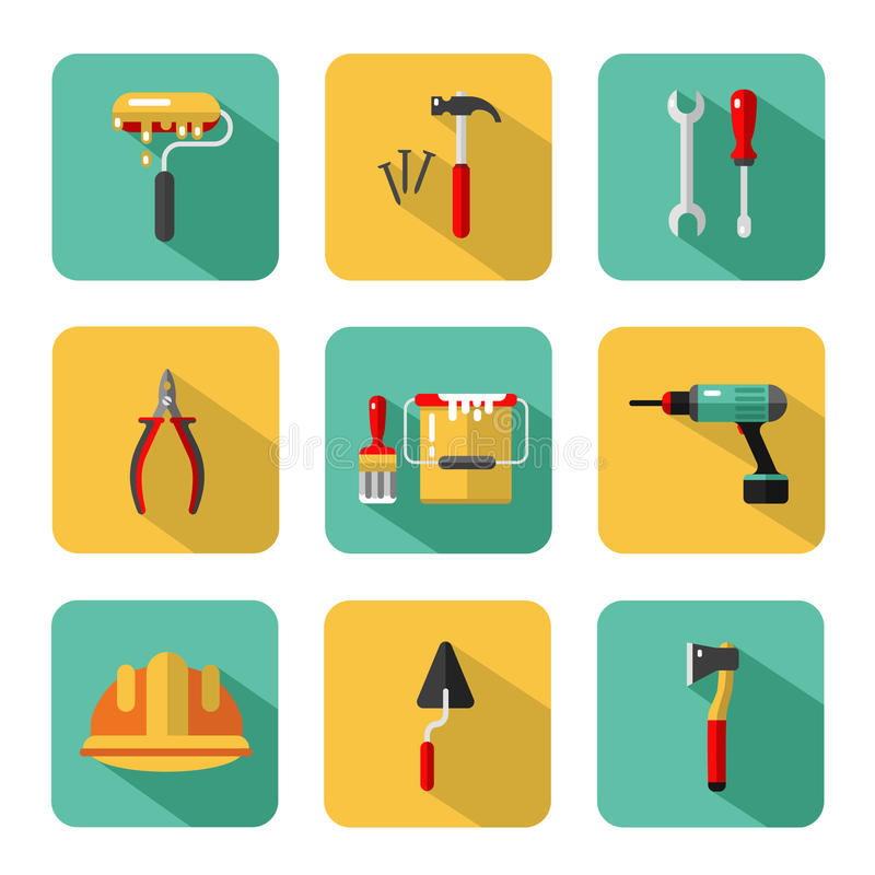Big vector icons set of construction tools stock illustration