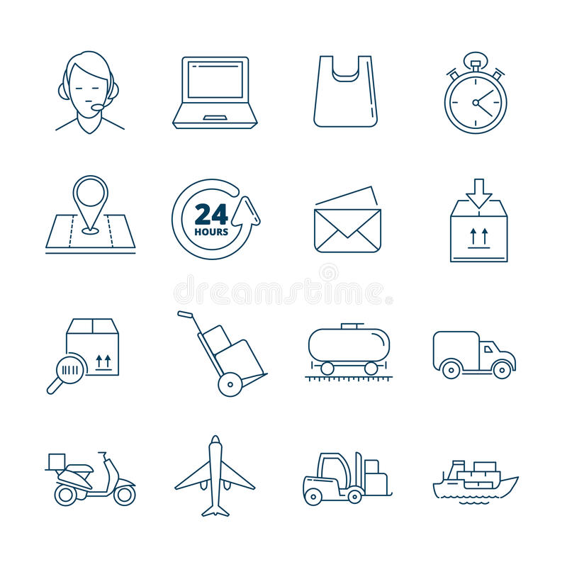 Big vector linear Icons set of logistics and delivery royalty free illustration