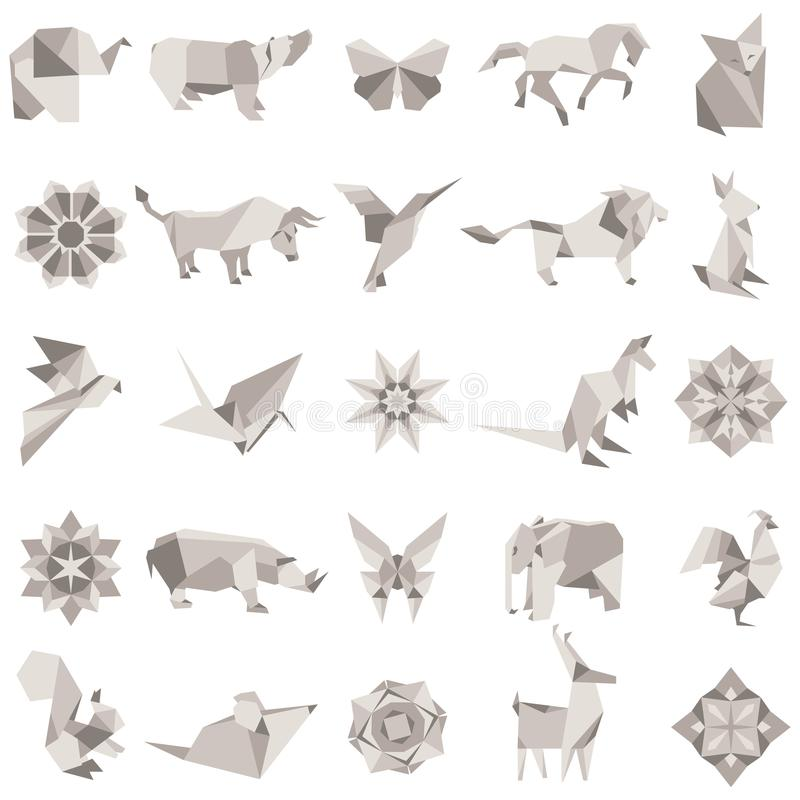 Big vector set of animal origami figures royalty free illustration