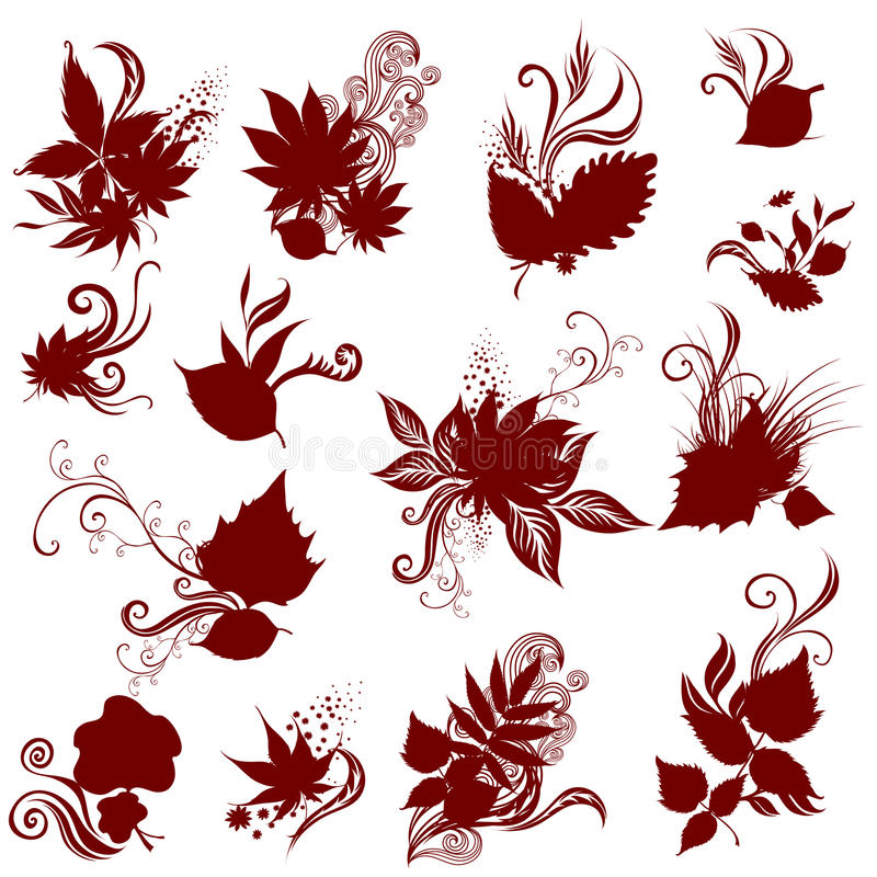 Big Vector Set Of Autumn Leafs. Thanksgiving Stock Photo