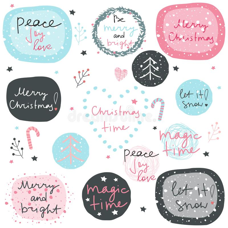 Big vector set of christmas phrases, decorative elements and frames. royalty free illustration