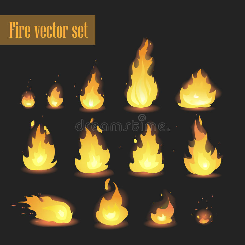 Big Vector set of different stages of fire - a small fire with sparks, blazing bright fire, dying fire, smoke. Video game, mobile royalty free illustration