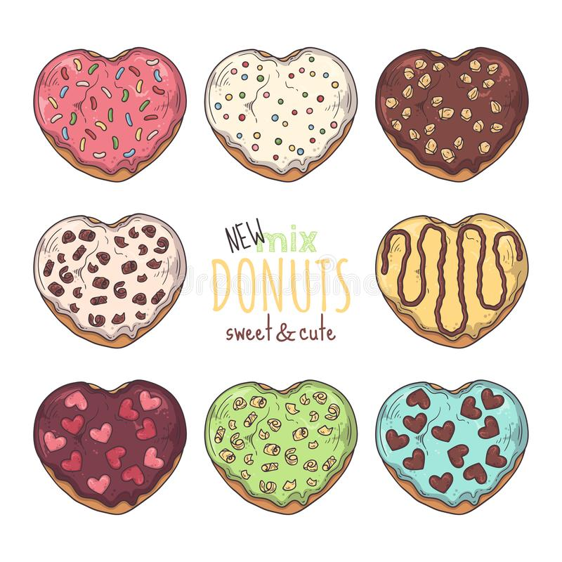 Big vector set of glazed donuts decorated with toppings, chocolate, nuts royalty free illustration