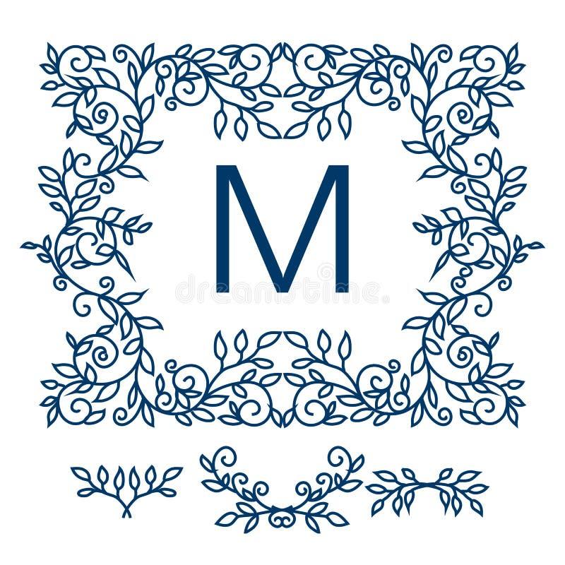 Big Vector Set Of Line Floral Design Elements For Logos Frames And