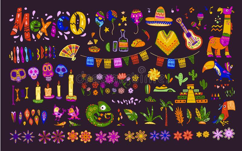 Big vector set of mexico elements, symbols & animals in flat hand drawn style isolated on dark background. vector illustration